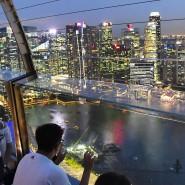 Touristen vor der Stadtansicht von Singapur.
