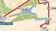 Der Weg des Hochzeitspaares durch London
