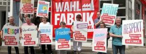 Wie viel Opposition ist möglich, wenn man mitregiert? Die Linke bei einer Wahlkampfaktion in Brandenburg, in der Mitte Spitzenkandidatin Kirsten Tackmann