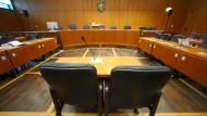 Verhandlungssaal im Landgericht in Frankfurt.