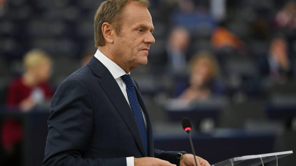 Donald Tusk im Europäischen Parlament im März 2019