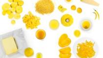 Sieht lecker aus, aber macht es auch fröhlich? Gelbe Nahrungsmittel.