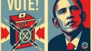 Barack Obama in Rot, Weiß und Blau