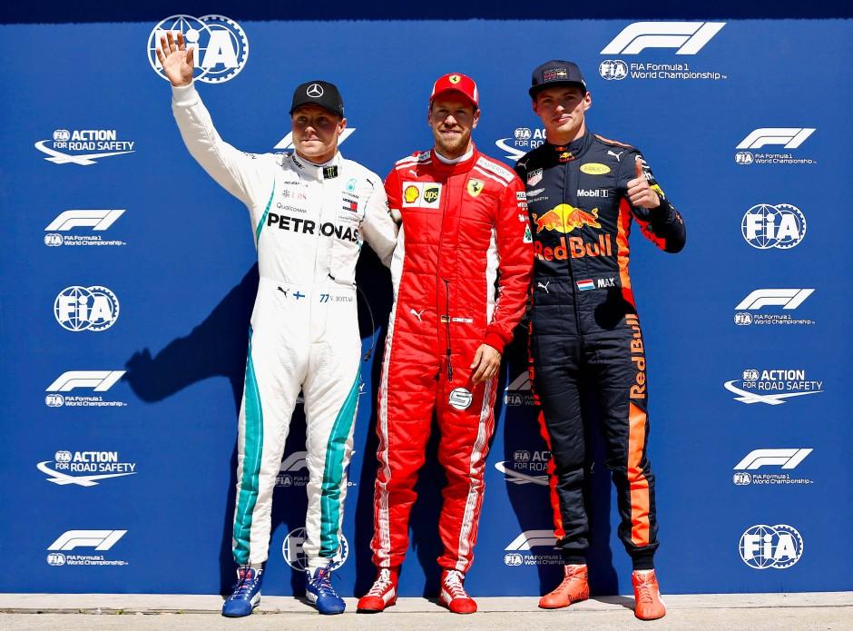 Die besten Drei: Valtteri Bottas, Sebastian Vettel und Max Verstappen