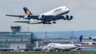 Archivbild: Ein Airbus der Lufthansa hebt vom Flughafen Frankfurt am Main ab.