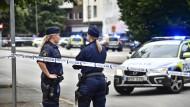 Heftige Bandenkämpfe in Schweden: Der Tatort in Malmö nach einer Schießerei am Montagabend.
