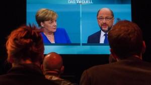 Schulz rechnet, Merkel gewinnt nicht allein