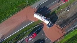 Flüssige Schokolade auf Polens Autobahn
