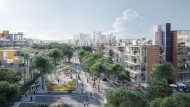 Grüne Brücken: Durch Parks und über baumgesäumte Boulevards sollen die Wege der Bewohner und Angestellten im neuen Stadtviertel führen.
