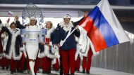 Perfekte Selbstinszenierung: Russische Athleten bei der Eröffnungsfeier der Winterspiele in Sotschi