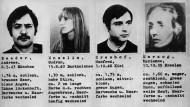 Fahndungsfotos um 1971 von Mitgliedern der Baader-Meinhof Gruppe.