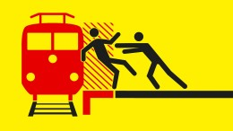 Vor den Zug gestoßen