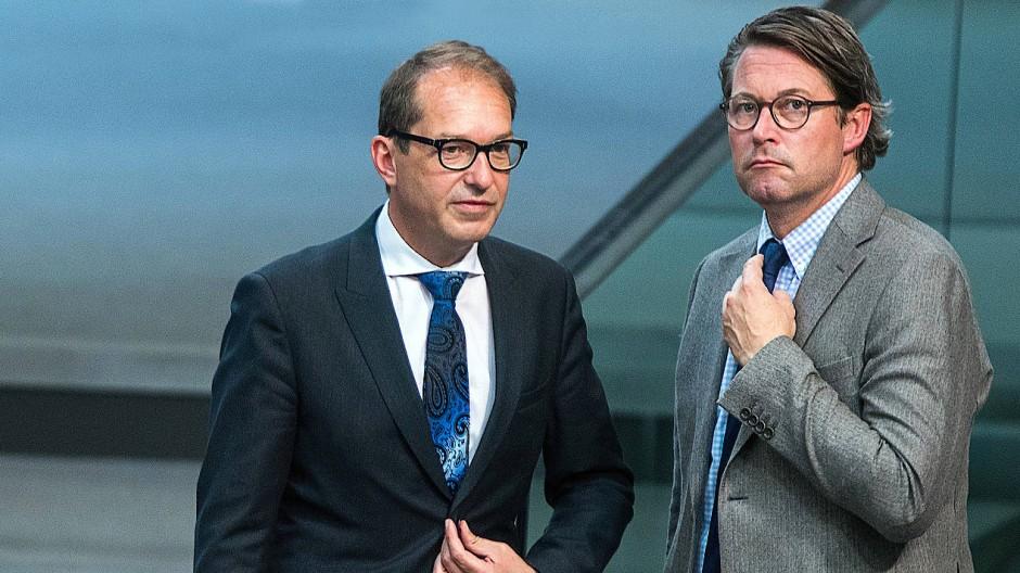 CSU-Politiker Alexander Dobrindt (links) sagte im Ausschuss auch über das Wirken von Andreas Scheuer (CSU), Bundesminister für Verkehr und digitale Infrastruktur, aus.