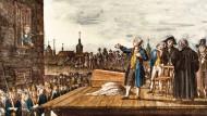 So ging eine Freundschaft zu Ende, so fing ein königliches Selbstverständnis an: die Hinrichtung Kattes in Küstrin auf einem kolorierten Kupferstich, erschienen um 1790.