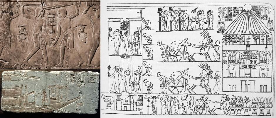 Die Szene links oben zeigt zwei junge Männer beim Stockkampf, das Relieffragment darunter gibt die Staatsbarke Echnatons wieder, rechts die Kopie einer Reliefdarstellung, die den Königspalast Echantons zeigt.