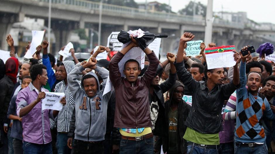 Demonstranten in Addis Abeba