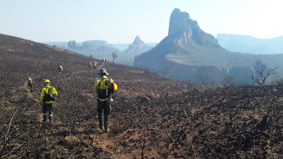 Feuerwehrleute laufen nach einem Brand in der bolivianischen Provinz Santa Cruz über verbranntes Gebiet.