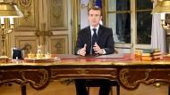 Der französische Präsident Emmanuel Macron während seiner Ansprache an die Nation.