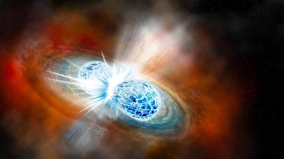 Künstlerische Darstellung der Kollision zweier Neutronensterne