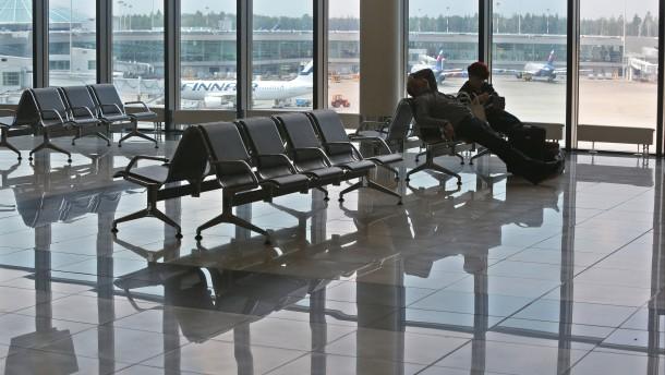Der Transitbereich des Moskauer Flughafens<