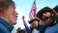 Trump-Anhänger und Trump-Gegner Mitte März bei einer Kundgebung in Salt Lake City