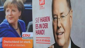 Wahlkampf Merkel und Steinbrück