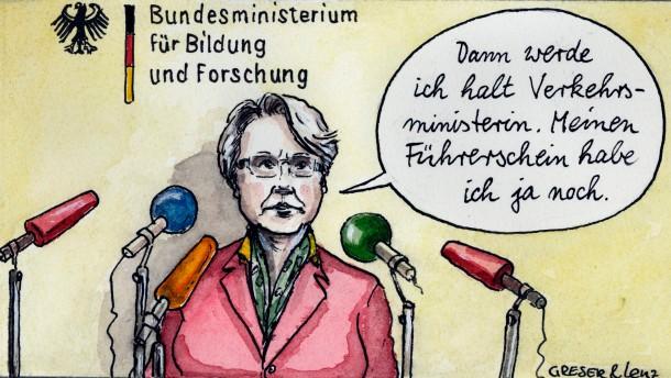 Karikatur / Greser und Lenz Rücktritt / Was nun, Frau Schawan?