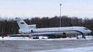 Eine Tupolew Tu-154 des russischen Verteidigungsministeriums 2015 auf dem Chkalovsky Militärflughafen.