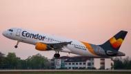 Ein Passagierflugzeug von Condor startet am frühen Morgen von der Südbahn des BER in Schönefeld.