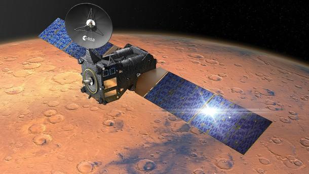 Landemodul auf dem Weg zum Mars