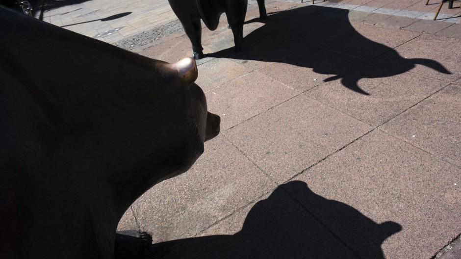 Der Schatten des Bäres, der für sinkende Kurse steht, und der des Bullen auf dem Pflaster vor der Frankfurter Börse