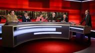 Diskussion vor Waldkulisse: Franz Prinz zu Salm-Salm, Roland Tichy, Barbara Hendricks, Peter Wohlleben und Olaf Tschimpke bei Frank Plasberg.