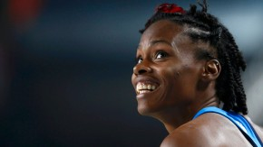 Lowe of  US reacts in women's high jump qualification during world indoor athletics championships at Atakoy Athletics Arena in Istanbul