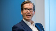 Der Vorstand der Deutschen Bank Frank Strauß beim Interview mit der F.A.S.