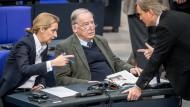 Die Fraktionsvorsitzenden der AfD im Bundestag, Alice Weidel und Alexander Gauland, sprechen mit dem ersten Parlamentarischen Fraktionsgeschäftsführer der AfD, Bernd Baumann.