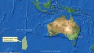 Diese Karte der australischen Seesicherheitsbehörde markiert das Suchgebiet seit dem 18. März. In der Nähe wurden auf Satellitenbildern die Objekte entdeckt, bei denen es sich um Trümmer von Flug MH370 handeln könnte.