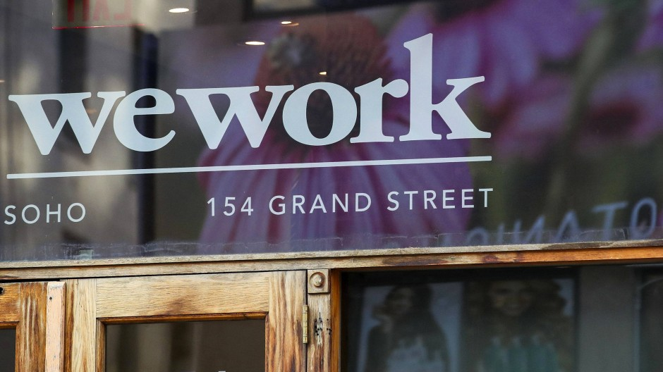 Der Eingang zu einem der Büros von Wework. Das amerikanische Unternehmen musste seinen Börsengang 2020 abblasen und versucht es nun über den Spac abermals.