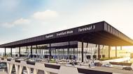 Eine Computergrafik zeigt den Check-In des zukünftigen Terminal 3 auf dem Flughafen von Frankfurt.