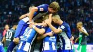 Blau-weiße Spielertraube: Hertha jubelt über den Sieg gegen Schalke