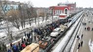 """Ankunft in Kursk: Den Sonderzug """"Syrische Wende"""" sollen angeblich Millionen Besucher besichtigt haben."""