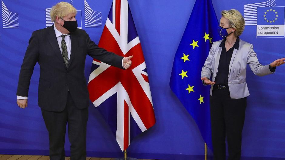 Premierminister Johnson und EU-Kommissionspräsidentin Von der Leyen (v.l.)  konnten sich an Heiligabend auf ein Abkommen zum Brexit einigen.