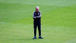 Bayern Munich's coach Heynckes watches team training session at international 'Open Media Day' in Munich