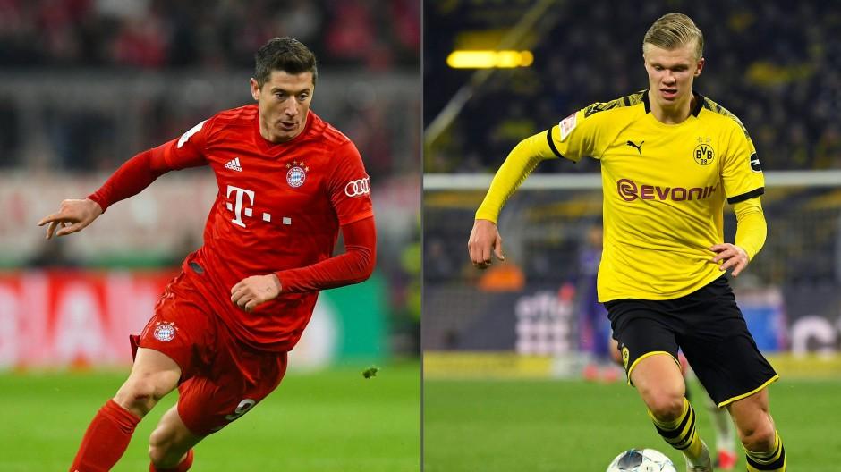 Treffen am Dienstag auf dem Platz aufeinander: Robert Lewandowski (FC Bayern) und Erling Haaland (Borussia Dortmund)