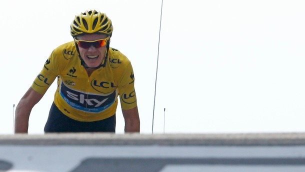 Race leader's yellow jersey Team Sky rider Froome of Britain cycles to win the fifteenth stage of the centenary Tour de France cycling race from Givors to Mont Ventoux