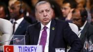 Der türkische Präsident Recep Tayyip Erdogan am Freitag in Johannesburg bei einem Treffen der Brics-Staaten