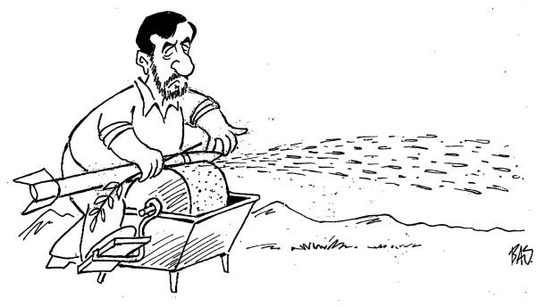 Karikatur / Waffen schärfen /  Ahmadinedschad