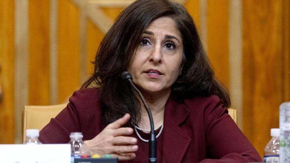 Neera Tanden spricht bei einer Anhörung im Senat Mitte Februar.