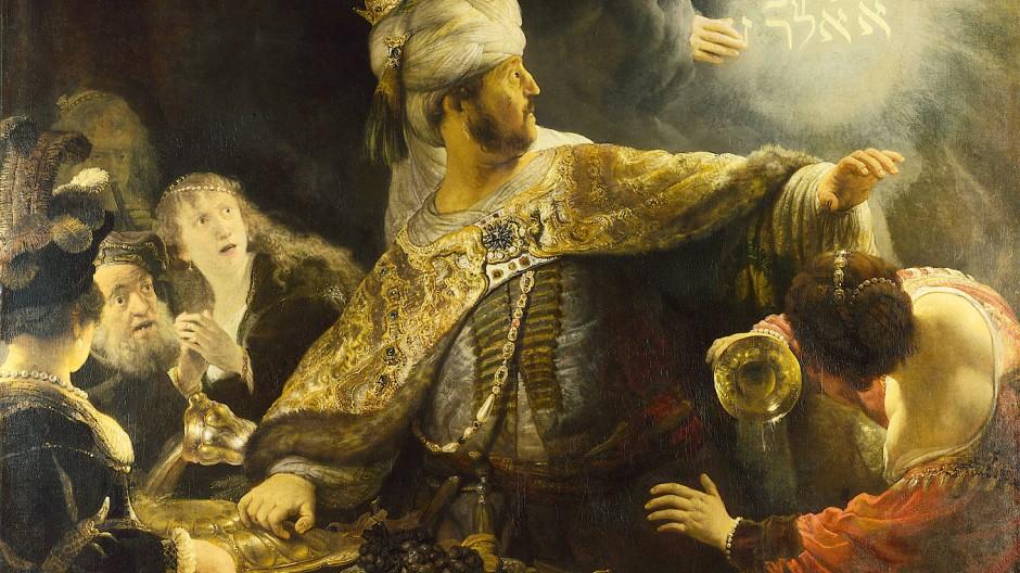 Das Menetekel als Heilszeichen: Rembrandts Gemälde des Gastmahls des Belsazar von 1635 hängt in der National Gallery in London.