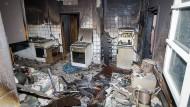 Stark verrußt: Zimmer in der Sozialunterkunft in Markgröningen