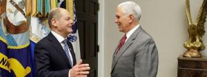 Bundesfinanzminister Olaf Scholz (SPD) und der amerikanische Vizepräsident Mike Pence